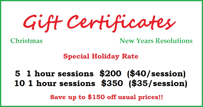 Personal fitness training gift certificates